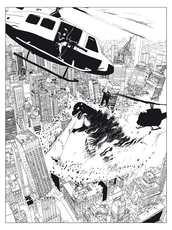 Godzilla_BW